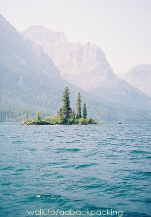 Wild Goose Island and Little Chief Mountain from boat